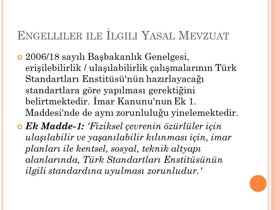 E NGELLILER ILE İ LGILI Y ASAL M EVZUAT 2006/18 sayılı Başbakanlık Genelgesi, erişilebilirlik / ulaşılabilirlik çalışmalarının Türk Standartları Ensti
