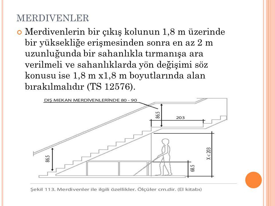 MERDIVENLER Merdivenlerin bir çıkış kolunun 1,8 m üzerinde bir yüksekliğe erişmesinden sonra en az 2 m uzunluğunda bir sahanlıkla tırmanışa ara verilm