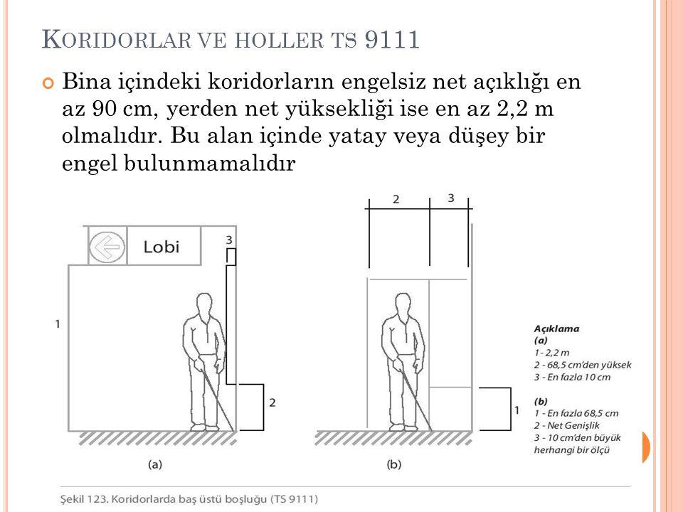 K ORIDORLAR VE HOLLER TS 9111 Bina içindeki koridorların engelsiz net açıklığı en az 90 cm, yerden net yüksekliği ise en az 2,2 m olmalıdır. Bu alan i