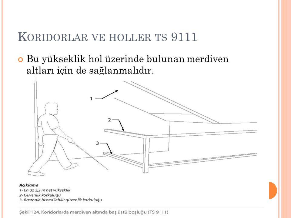 K ORIDORLAR VE HOLLER TS 9111 Bu yükseklik hol üzerinde bulunan merdiven altları için de sağlanmalıdır.