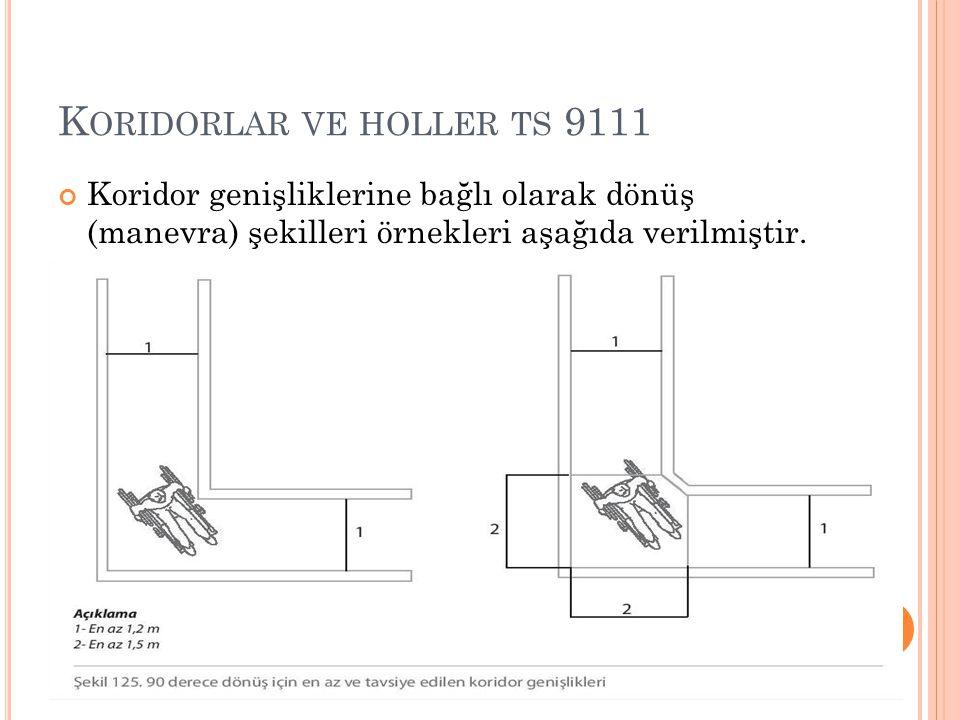 K ORIDORLAR VE HOLLER TS 9111 Koridor genişliklerine bağlı olarak dönüş (manevra) şekilleri örnekleri aşağıda verilmiştir.