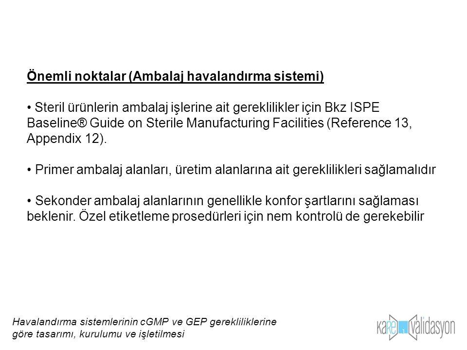Önemli noktalar (Ambalaj havalandırma sistemi) Steril ürünlerin ambalaj işlerine ait gereklilikler için Bkz ISPE Baseline® Guide on Sterile Manufactur