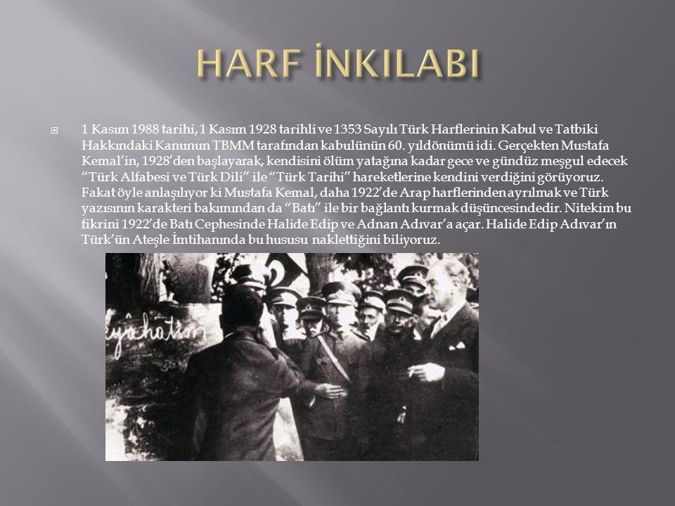  1 Kasım 1988 tarihi, 1 Kasım 1928 tarihli ve 1353 Sayılı Türk Harflerinin Kabul ve Tatbiki Hakkındaki Kanunun TBMM tarafından kabulünün 60. yıldönüm