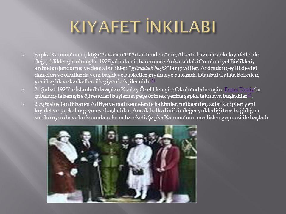  Şapka Kanunu'nun çıktığı 25 Kasım 1925 tarihinden önce, ülkede bazı mesleki kıyafetlerde değişiklikler görülmüştü. 1925 yılından itibaren önce Ankar