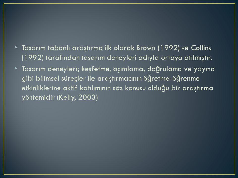 Tasarım tabanlı araştırma ilk olarak Brown (1992) ve Collins (1992) tarafından tasarım deneyleri adıyla ortaya atılmıştır. Tasarım deneyleri; keşfetme