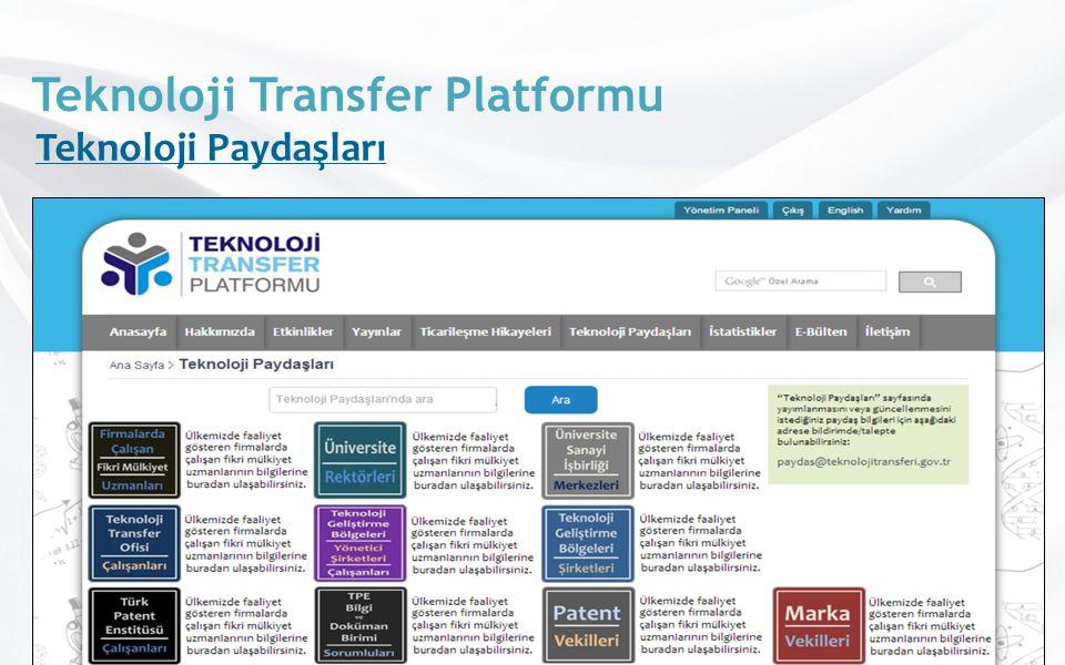 Teknoloji Transfer Platformu Teknoloji Paydaşları