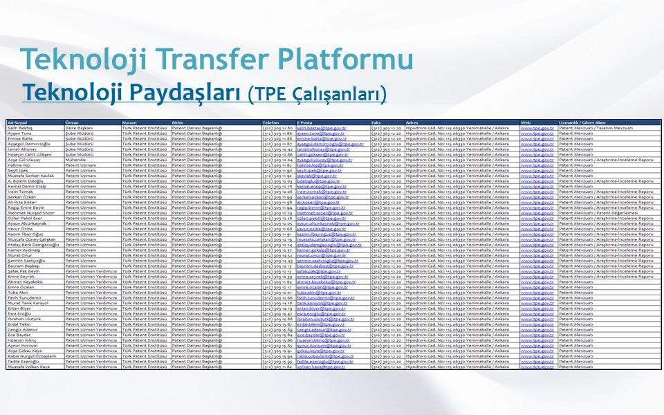 Teknoloji Transfer Platformu Teknoloji Paydaşları (TPE Çalışanları)