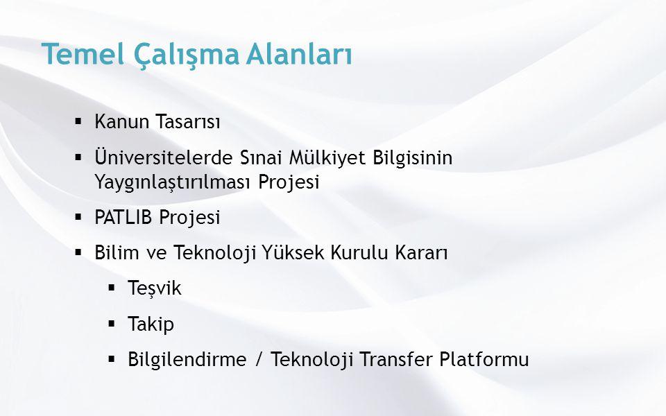 Temel Çalışma Alanları  Kanun Tasarısı  Üniversitelerde Sınai Mülkiyet Bilgisinin Yaygınlaştırılması Projesi  PATLIB Projesi  Bilim ve Teknoloji Yüksek Kurulu Kararı  Teşvik  Takip  Bilgilendirme / Teknoloji Transfer Platformu