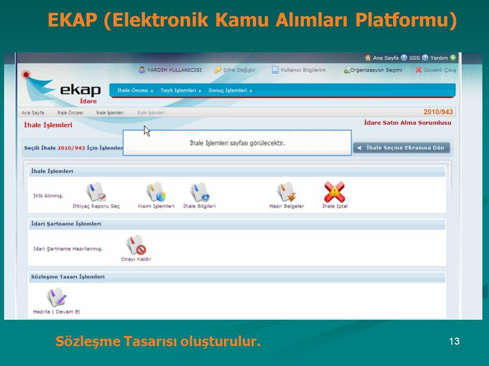 EKAP (Elektronik Kamu Alımları Platformu) Sözleşme Tasarısı oluşturulur. 13