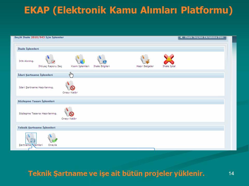 EKAP (Elektronik Kamu Alımları Platformu) Teknik Şartname ve işe ait bütün projeler yüklenir. 14
