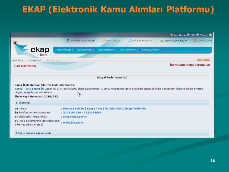 EKAP (Elektronik Kamu Alımları Platformu) 16