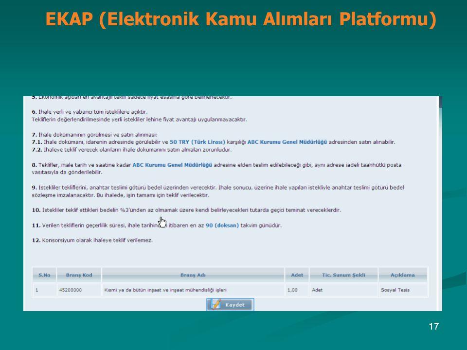 EKAP (Elektronik Kamu Alımları Platformu) 17
