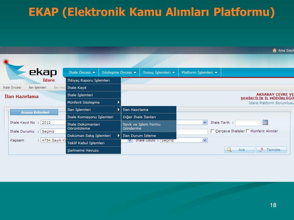 EKAP (Elektronik Kamu Alımları Platformu) 18