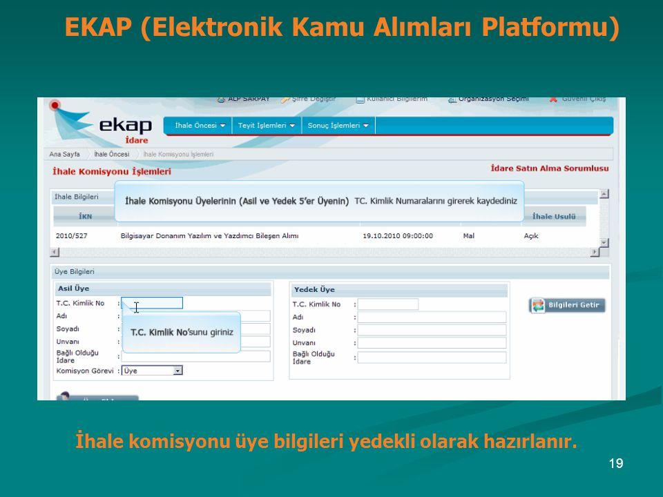 İhale komisyonu üye bilgileri yedekli olarak hazırlanır. EKAP (Elektronik Kamu Alımları Platformu) 19