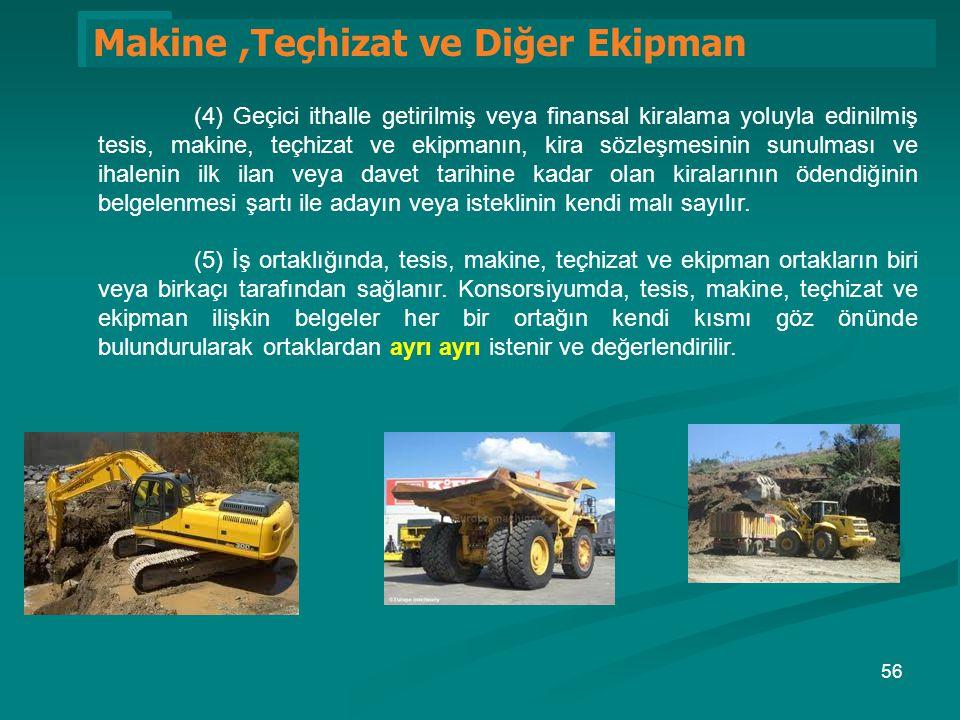 1 Makine,Teçhizat ve Diğer Ekipman (4) Geçici ithalle getirilmiş veya finansal kiralama yoluyla edinilmiş tesis, makine, teçhizat ve ekipmanın, kira s
