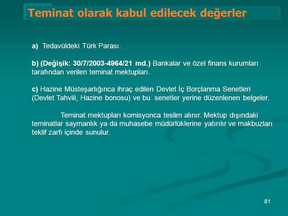 1 Teminat olarak kabul edilecek değerler a) Tedavüldeki Türk Parası. b) (Değişik: 30/7/2003-4964/21 md.) Bankalar ve özel finans kurumları tarafından