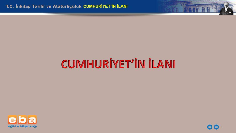 T.C. İnkılap Tarihi ve Atatürkçülük CUMHURİYET'İN İLANI 1