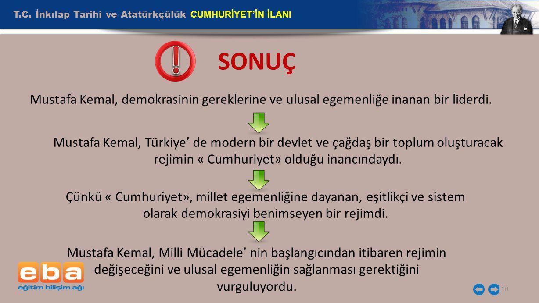 T.C. İnkılap Tarihi ve Atatürkçülük CUMHURİYET'İN İLANI 10 SONUÇ Mustafa Kemal, demokrasinin gereklerine ve ulusal egemenliğe inanan bir liderdi. Must