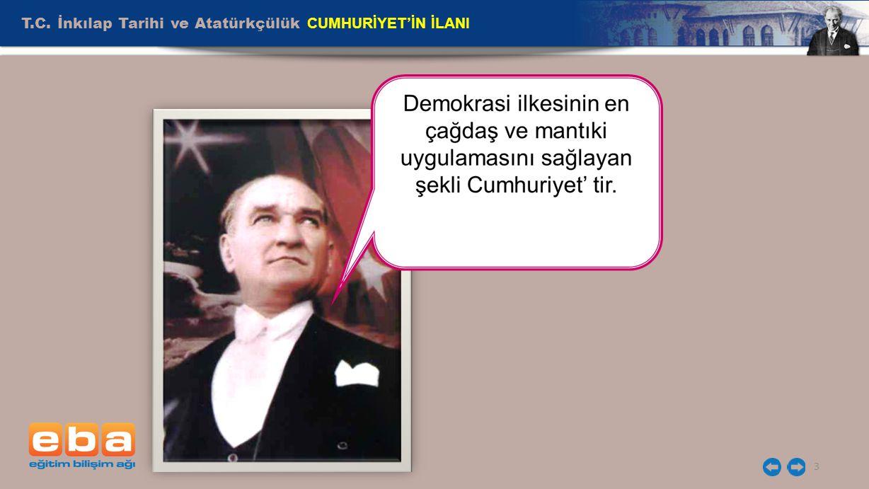 T.C. İnkılap Tarihi ve Atatürkçülük CUMHURİYET'İN İLANI 3