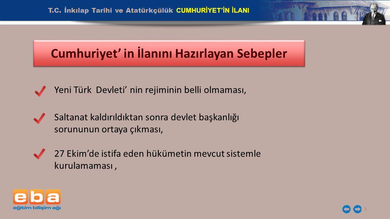 T.C. İnkılap Tarihi ve Atatürkçülük CUMHURİYET'İN İLANI 5 Cumhuriyet' in İlanını Hazırlayan Sebepler Yeni Türk Devleti' nin rejiminin belli olmaması,