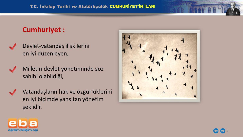 T.C. İnkılap Tarihi ve Atatürkçülük CUMHURİYET'İN İLANI 9 Cumhuriyet : Devlet-vatandaş ilişkilerini en iyi düzenleyen, Milletin devlet yönetiminde söz