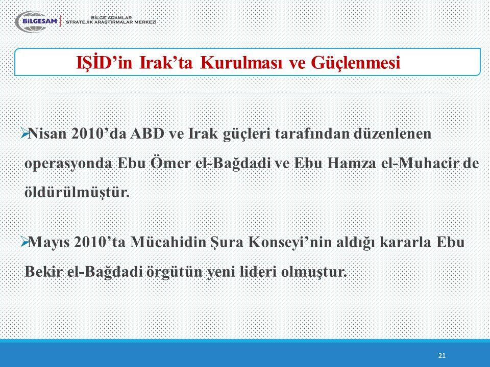 IŞİD'in Irak'ta Kurulması ve Güçlenmesi 21  Nisan 2010'da ABD ve Irak güçleri tarafından düzenlenen operasyonda Ebu Ömer el-Bağdadi ve Ebu Hamza el-M