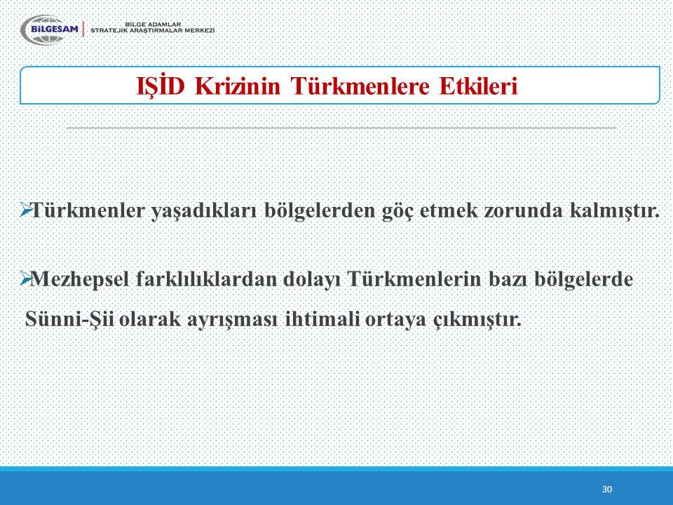 IŞİD Krizinin Türkmenlere Etkileri 30  Türkmenler yaşadıkları bölgelerden göç etmek zorunda kalmıştır.  Mezhepsel farklılıklardan dolayı Türkmenleri