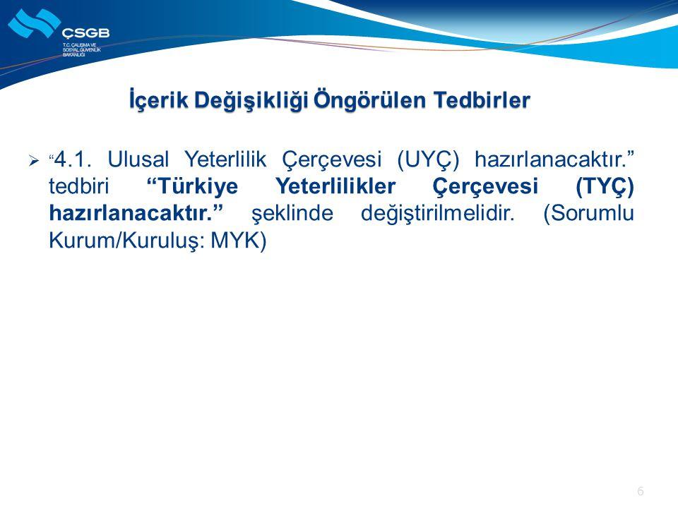 """ """" 4.1. Ulusal Yeterlilik Çerçevesi (UYÇ) hazırlanacaktır."""" tedbiri """"Türkiye Yeterlilikler Çerçevesi (TYÇ) hazırlanacaktır."""" şeklinde değiştirilmelid"""