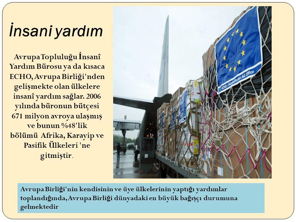 İnsani yardım Avrupa Toplulu ğ u İ nsanî Yardım Bürosu ya da kısaca ECHO, Avrupa Birli ğ i nden geli ş mekte olan ülkelere insanî yardım sa ğ lar.