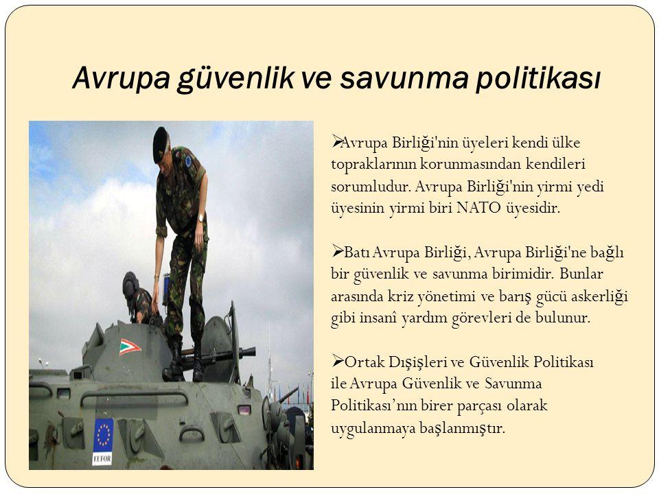 Avrupa güvenlik ve savunma politikası  Avrupa Birli ğ i nin üyeleri kendi ülke topraklarının korunmasından kendileri sorumludur.