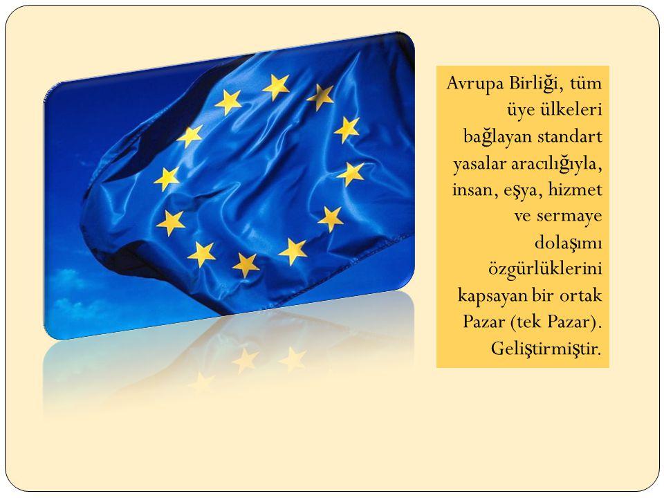 Avrupa Birli ğ i, tüm üye ülkeleri ba ğ layan standart yasalar aracılı ğ ıyla, insan, e ş ya, hizmet ve sermaye dola ş ımı özgürlüklerini kapsayan bir ortak Pazar (tek Pazar).