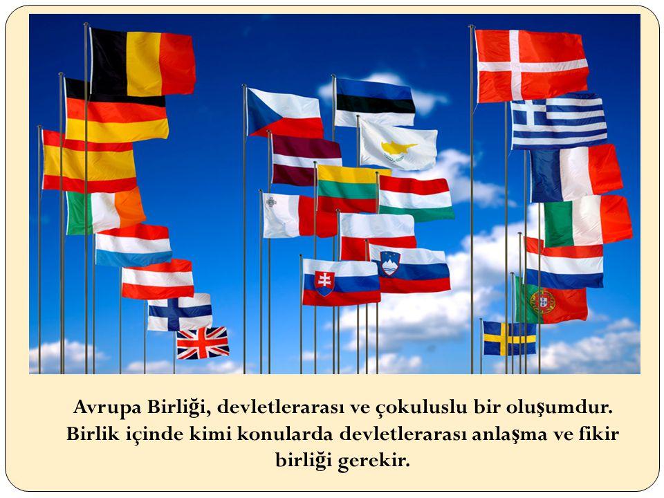 Avrupa Birli ğ i, devletlerarası ve çokuluslu bir olu ş umdur.