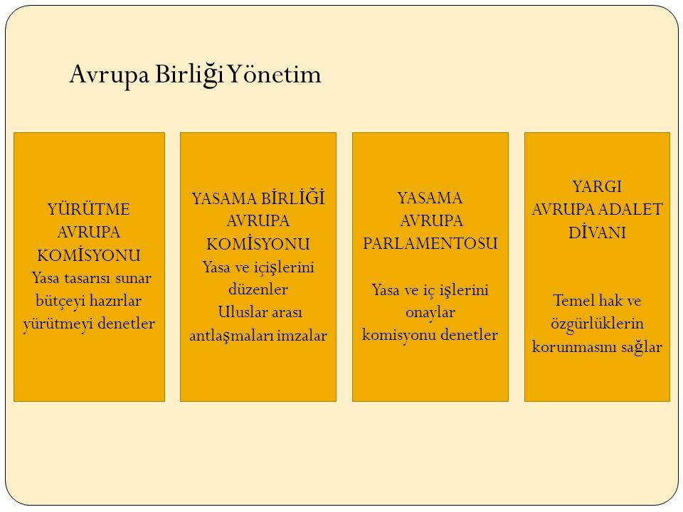 YÜRÜTME AVRUPA KOM İ SYONU Yasa tasarısı sunar bütçeyi hazırlar yürütmeyi denetler YASAMA B İ RL İĞİ AVRUPA KOM İ SYONU Yasa ve içi ş lerini düzenler Uluslar arası antla ş maları imzalar YASAMA AVRUPA PARLAMENTOSU Yasa ve iç i ş lerini onaylar komisyonu denetler Avrupa Birli ğ i Yönetim YARGI AVRUPA ADALET D İ VANI Temel hak ve özgürlüklerin korunmasını sa ğ lar