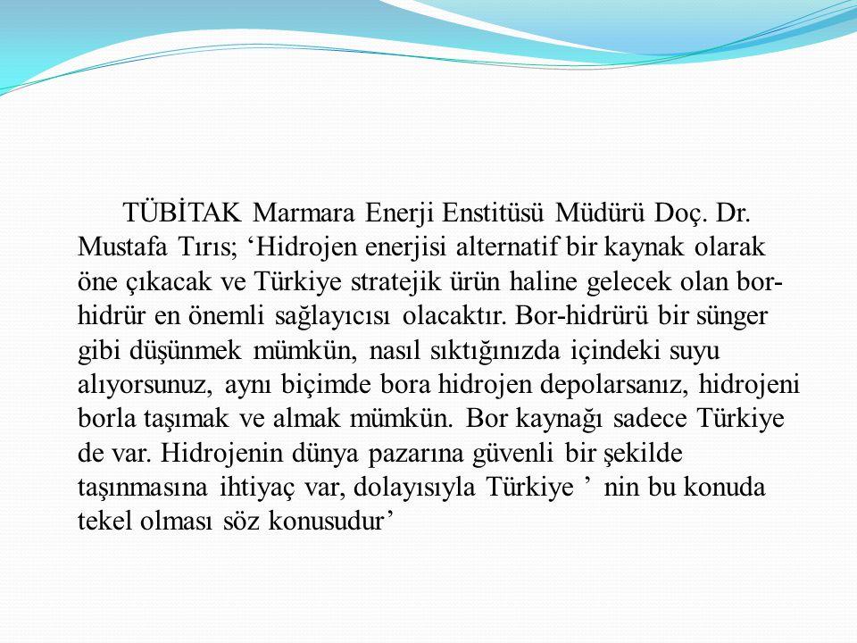 TÜBİTAK Marmara Enerji Enstitüsü Müdürü Doç. Dr. Mustafa Tırıs; 'Hidrojen enerjisi alternatif bir kaynak olarak öne çıkacak ve Türkiye stratejik ürün