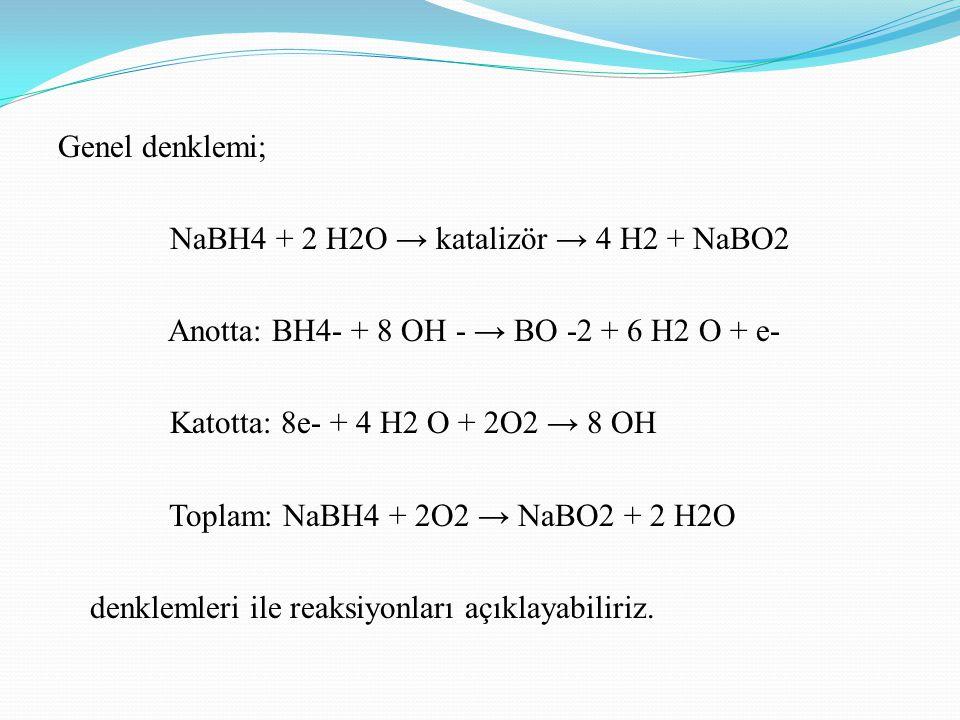 Genel denklemi; NaBH4 + 2 H2O → katalizör → 4 H2 + NaBO2 Anotta: BH4- + 8 OH - → BO -2 + 6 H2 O + e- Katotta: 8e- + 4 H2 O + 2O2 → 8 OH Toplam: NaBH4