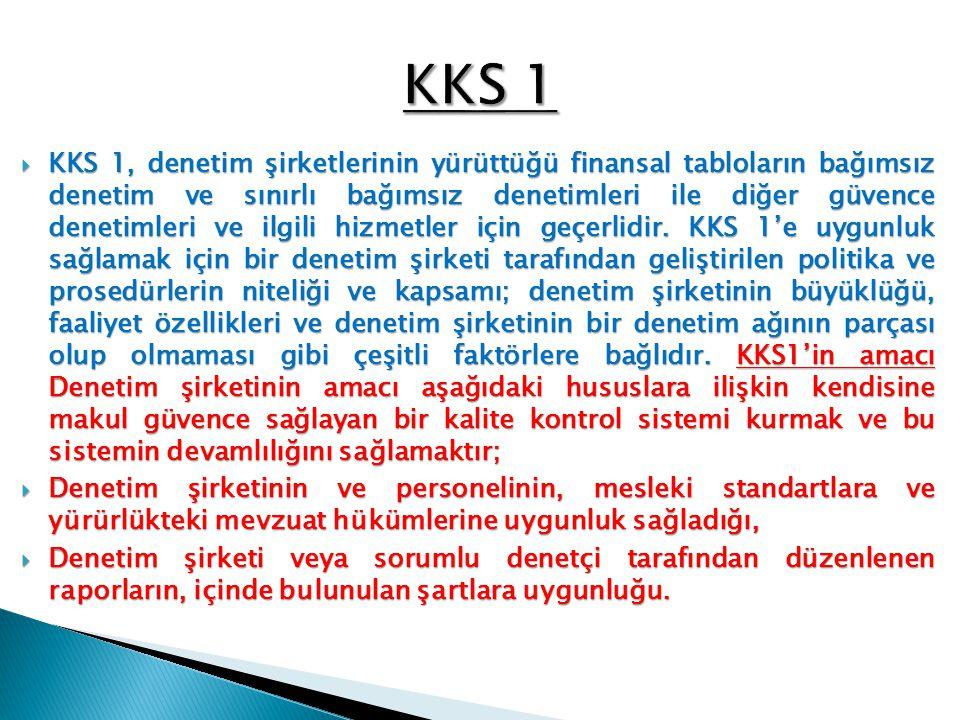 Denetim şirketi KKS 1'de yer alan her ana hükme uygunluk sağlar.