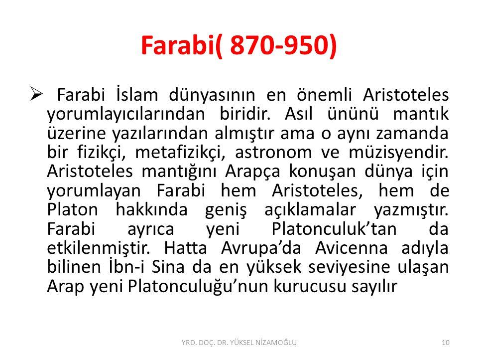 Farabi( 870-950)  Farabi İslam dünyasının en önemli Aristoteles yorumlayıcılarından biridir.