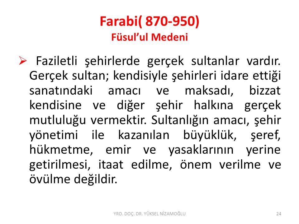 Farabi( 870-950) Füsul'ul Medeni  Faziletli şehirlerde gerçek sultanlar vardır.