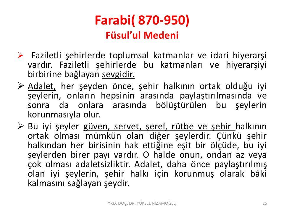 Farabi( 870-950) Füsul'ul Medeni  Faziletli şehirlerde toplumsal katmanlar ve idari hiyerarşi vardır.