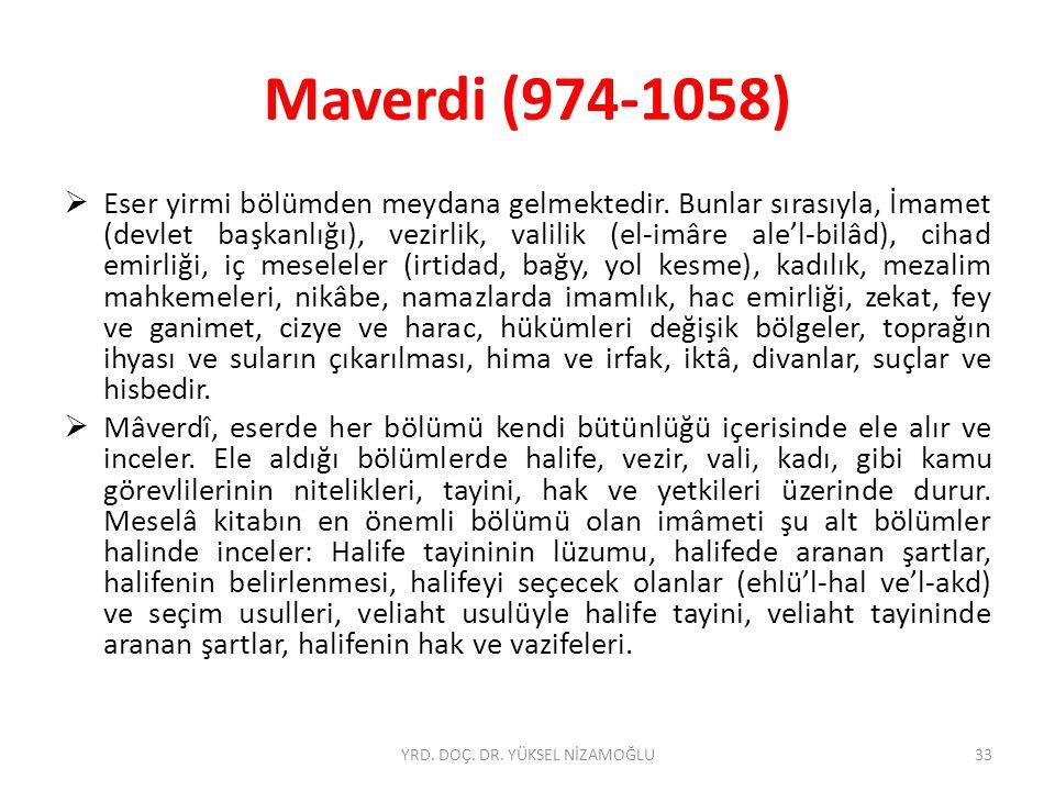Maverdi (974-1058)  Eser yirmi bölümden meydana gelmektedir.