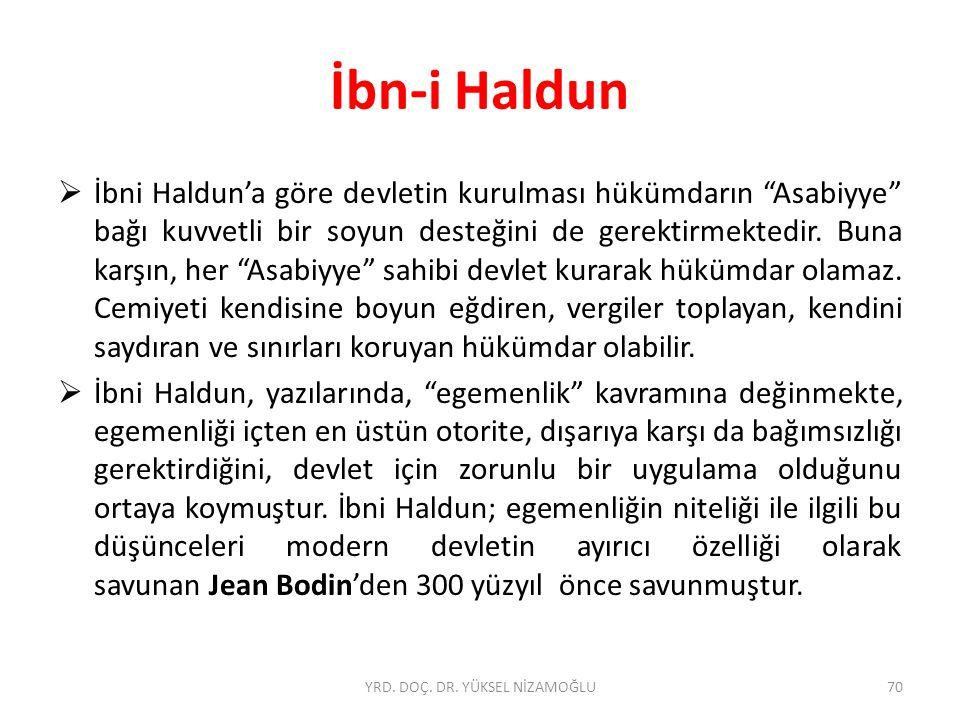  İbni Haldun'a göre devletin kurulması hükümdarın Asabiyye bağı kuvvetli bir soyun desteğini de gerektirmektedir.