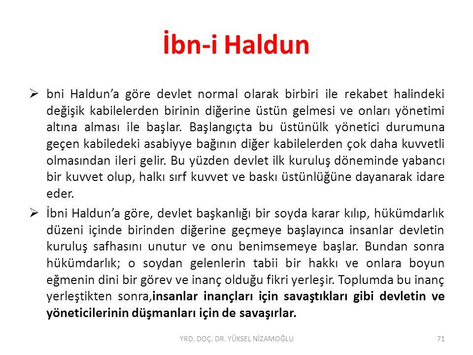  bni Haldun'a göre devlet normal olarak birbiri ile rekabet halindeki değişik kabilelerden birinin diğerine üstün gelmesi ve onları yönetimi altına alması ile başlar.