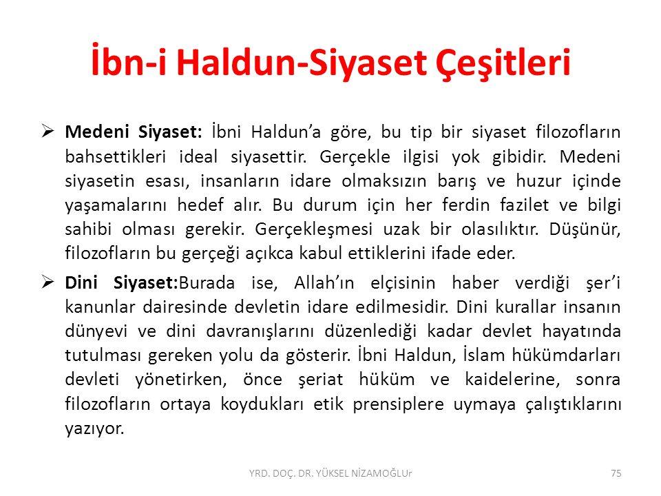  Medeni Siyaset: İbni Haldun'a göre, bu tip bir siyaset filozofların bahsettikleri ideal siyasettir.