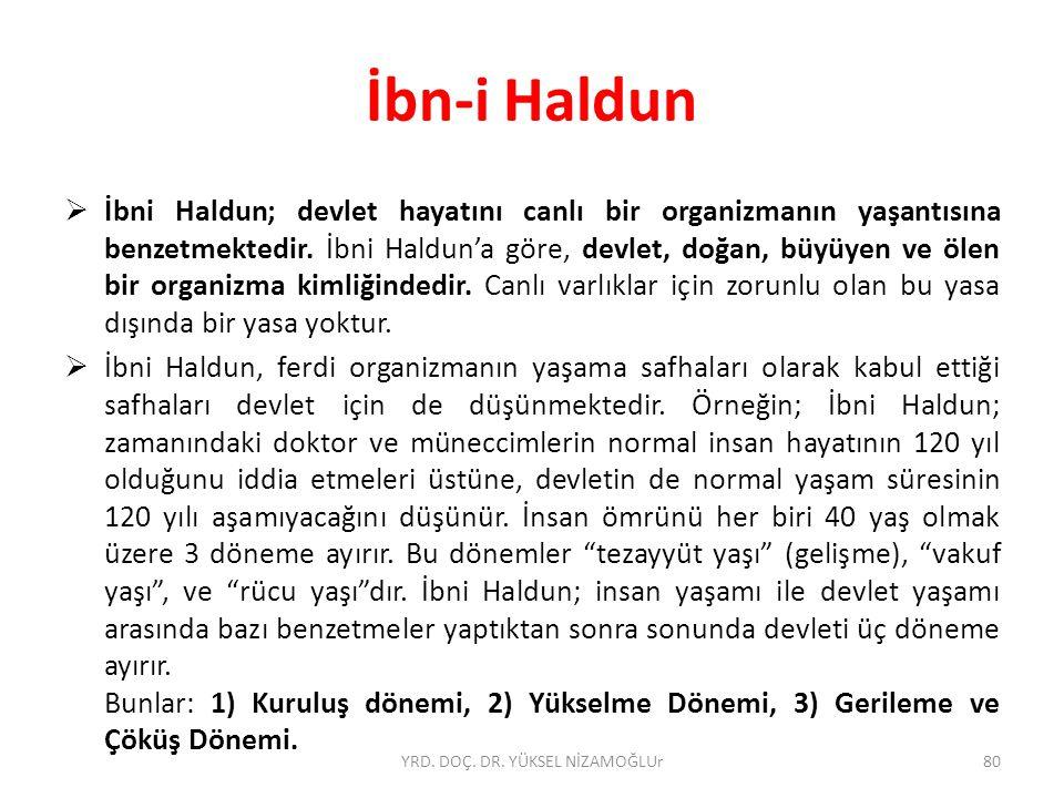  İbni Haldun; devlet hayatını canlı bir organizmanın yaşantısına benzetmektedir.