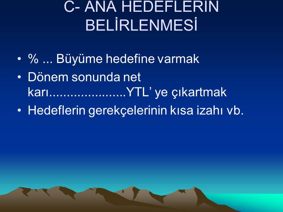 C- ANA HEDEFLERİN BELİRLENMESİ %...