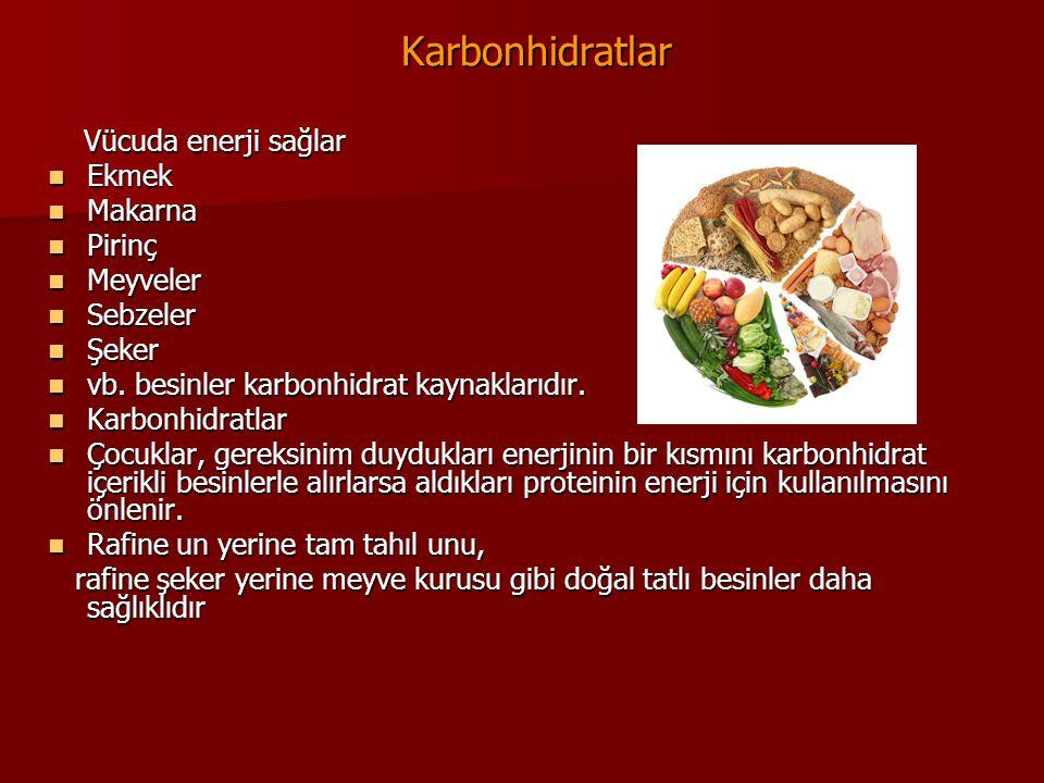 Karbonhidratlar Karbonhidratlar Vücuda enerji sağlar Vücuda enerji sağlar Ekmek Ekmek Makarna Makarna Pirinç Pirinç Meyveler Meyveler Sebzeler Sebzele