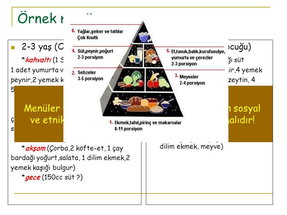 Örnek menü 2-3 yaş (Oyun çocuğu) *kahvaltı (1 Su bardağı süt 1 adet yumurta veya 1 kibrit kutusu peynir,2 yemek kaşığıpekmez/bal, 5 adet zeytin, 2 dilim ekmek) *kuşluk (1 meyve) *öğle (4 kaşık sebze, mercimek çorba/2 köfte, 1 çay bardağı yoğurt, salata, 1 dilim ekmek) *kuşluk (1 meyve) *akşam (Çorba,2 köfte-et, 1 çay bardağı yoğurt,salata, 1 dilim ekmek,2 yemek kaşığı bulgur) *gece (150cc süt ?) 9-10 yaş (Okul çocuğu) *kahvaltı (1 Su bardağı süt 1 adet yumurta veya peynir,4 yemek kaşığıpekmez/bal,8 adet zeytin, 4 dilim ekmek) *öğle (1 porsiyon etli sebze yemeği, çorba salata, 2 dilim ekmek, sütlü tatlı, 1 meyve) *akşam (1 porsiyon etli kurubaklagil, pilav, yoğurt,salata, 2 dilim ekmek, meyve) Menüler ve beslenme yönlendirmeleri toplumun sosyal ve etnik yapısı göz önünde tutularak planlanmalıdır!