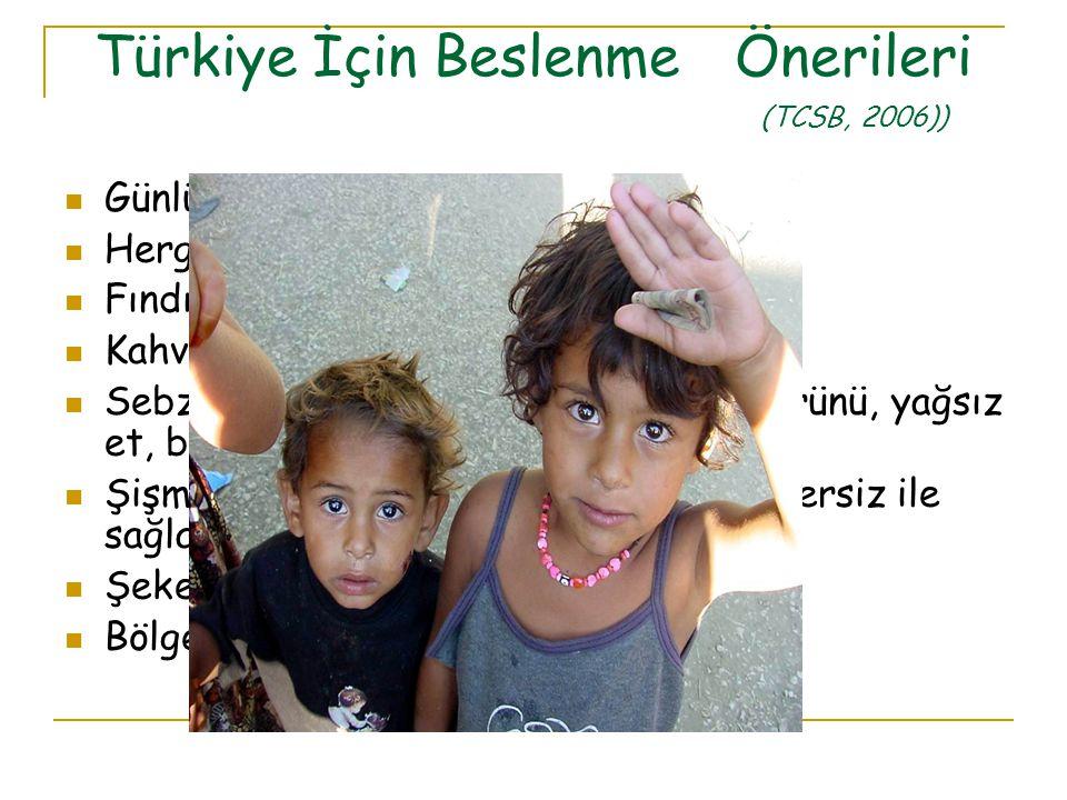 Türkiye İçin Beslenme Önerileri (TCSB, 2006)) Günlük 3-4 porsiyon süt-süt ürünü Hergün 1 yumurta Fındık, ceviz diyette yer almalı Kahvaltı şart, kahvaltıda sebze-meyve Sebze-meyve, yağı azaltılmış süt-süt ürünü, yağsız et, balık Şişman çocuklarda ağırlık denetimi egzersiz ile sağlanmalı Şeker, kek vb tatlı gıdalardan uzak dur Bölgeye göre flor desteği verilebilir