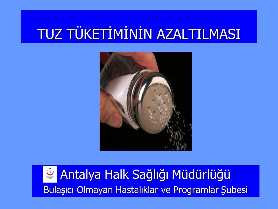 TUZ TÜKETİMİNİN AZALTILMASI Antalya Halk Sağlığı Müdürlüğü Bulaşıcı Olmayan Hastalıklar ve Programlar Şubesi