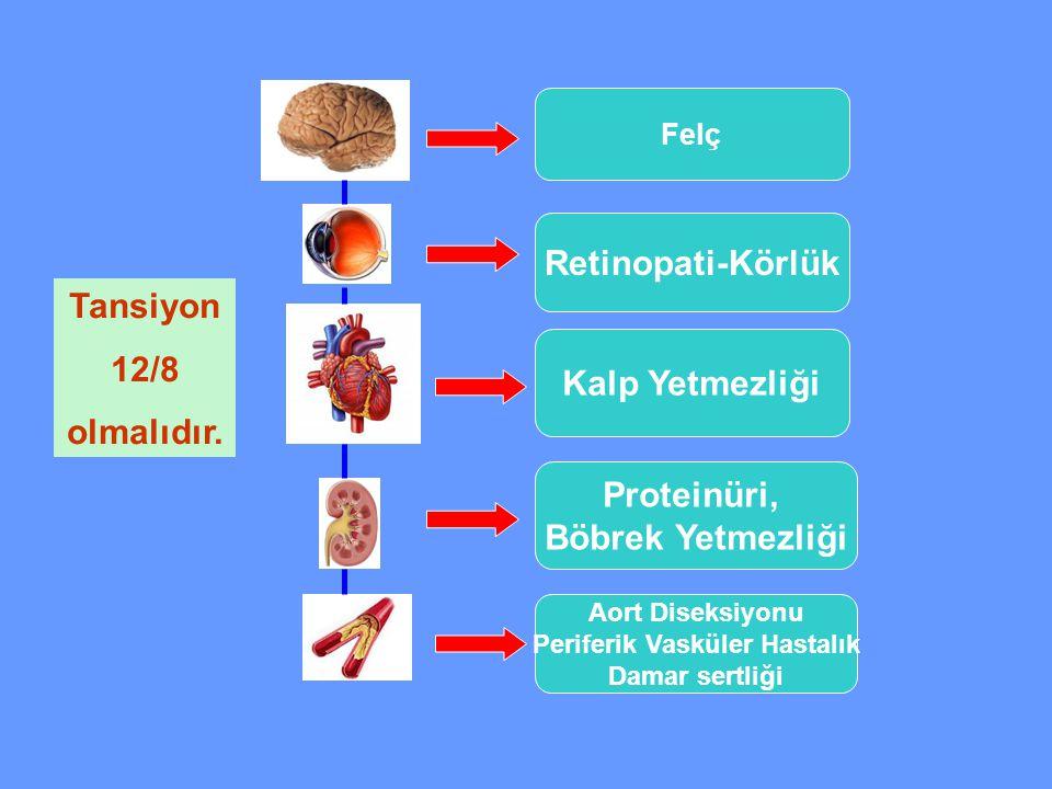 Felç Retinopati-Körlük Kalp Yetmezliği Proteinüri, Böbrek Yetmezliği Aort Diseksiyonu Periferik Vasküler Hastalık Damar sertliği Tansiyon 12/8 olmalıd